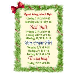 Öppet kring Jul och Nyår
